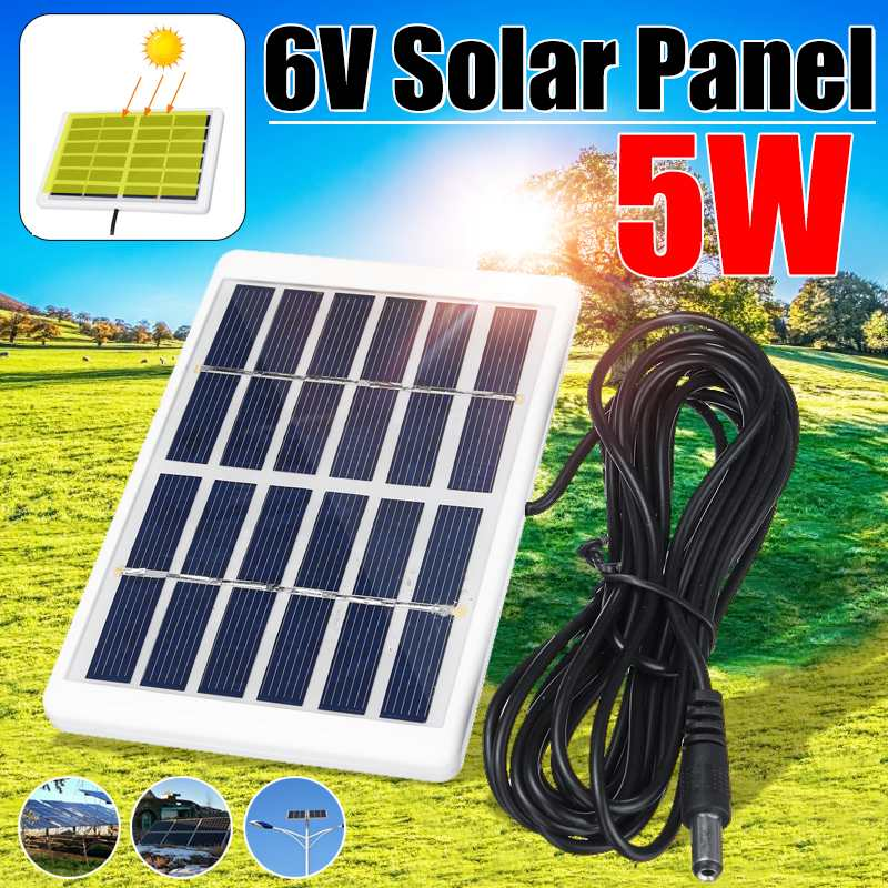 5W 5V Solar Panel Outdoor Solar Charger Panel 3 Meter Cable Climbing Fast Charger Polysilicon Tablet Solar Generator Travel image