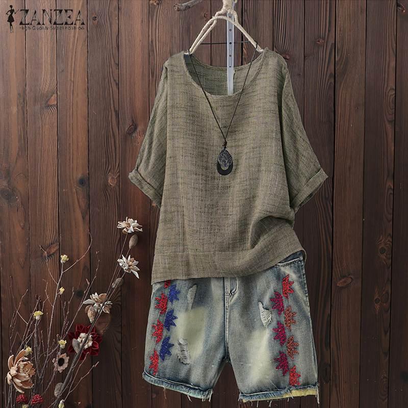 2020 ZANZEA Summer Blouse Women Casual O Neck Short Sleeve Vintage Tops Tunic Femininas Loose Shirt Solid Robe Blusas Chemise