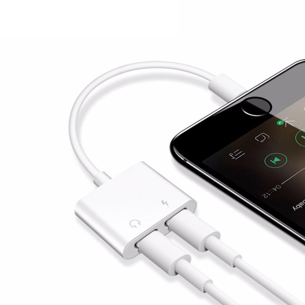 Dubbeluttag Adapterkabel för Lightning Headphone Audio Converter Support iOS 12 för iphone 78 X XS XR Charger Music or Call