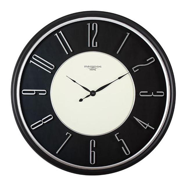 Studio Design Home 29″ Modern Raised Numeral Wall Clock – Black