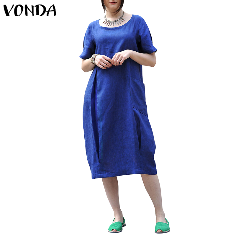 VONDA Women Vintage Cotton Dress 2019 Summer Casual Loose O Neck Short Sleeve Mid Calf Solid Dresses Elegant Vestidos Plus Size
