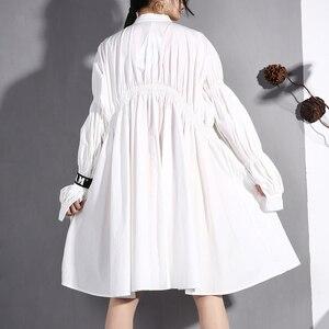 Image 4 - [EAM] 2020 nouveau printemps automne col montant à manches longues noir plissé pli point irrégulière grande taille robe femmes mode marée JO47