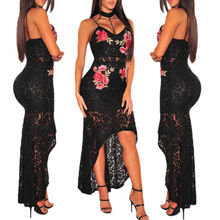2019 Womens Bodycon Plunge Lace Strappy Ladies Party Evening Midi Dress Size S-XL V-neck