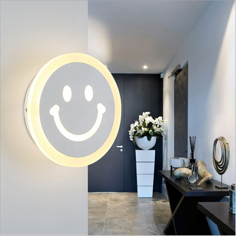 Modern Indoor Decor Cartoon Led Wall Lamp Smile Face 7w/12w Acrylic Wall Light Bathroom Wall Sconce Fixtures Lampara De Pared Led Lamps
