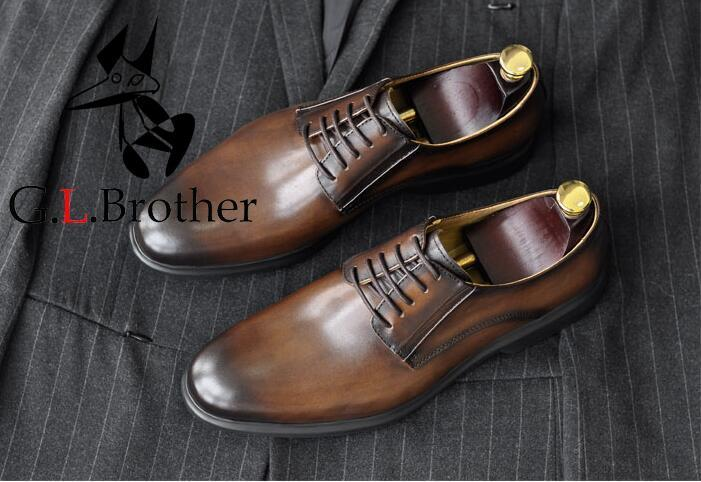 New Fashion Men's Shoes Formal Dress Business Oxfords Mix Colour Handmade Vintage Luxury Smart Casual Genuine Leather Derby Shoe туфли rio fiore rio fiore ri033awrls66