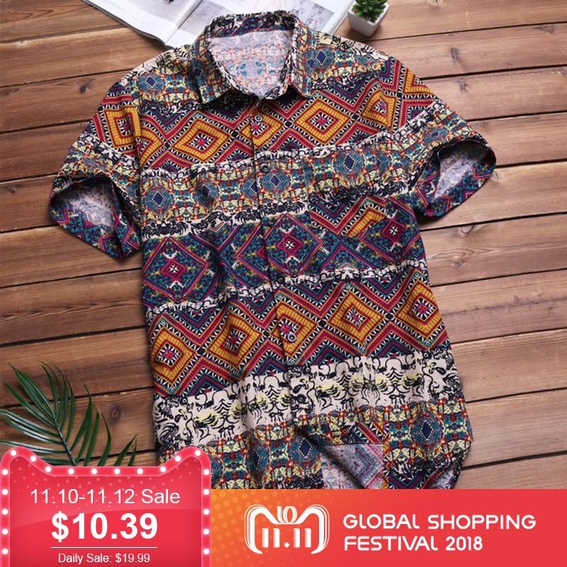 Mens Camisa Havaiana Tropical Praia Verão Camisa de Manga Curta Homens Marca de Roupas Casuais Botão Para Baixo Camisas de Algodão Solto Plus Size