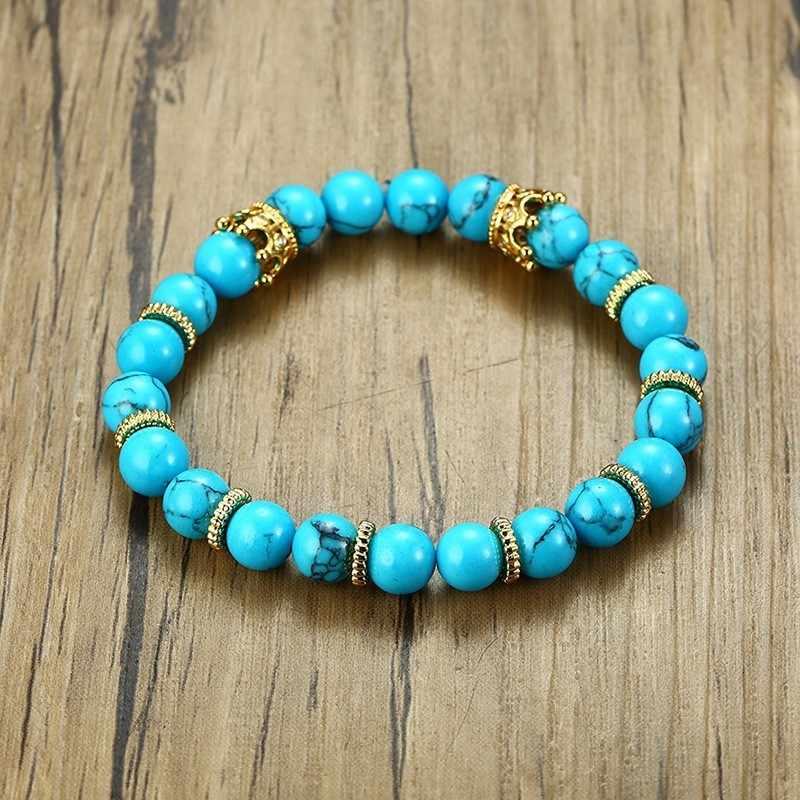 Grânulos masculinos pulseira charme ouro coroa azul pedra corda elástica amizade empilhamento masculino presentes do menino dropshipping