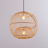 SETTEMBRE Modern Bamboo Lantern Chandelier Round 2 Light Bedroom Lamp with Shade