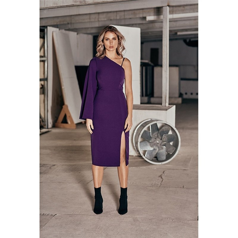 Dress with one sleeve C.H.I.C female CHIC striped long sleeve dress with belt