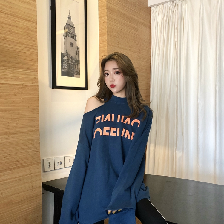 Women Loose Cropped Hoodies Harajuku Off Shoulder Sweatshirt Ins Fashion Winter Oversized Ripped Letter Printed Pullover Femme