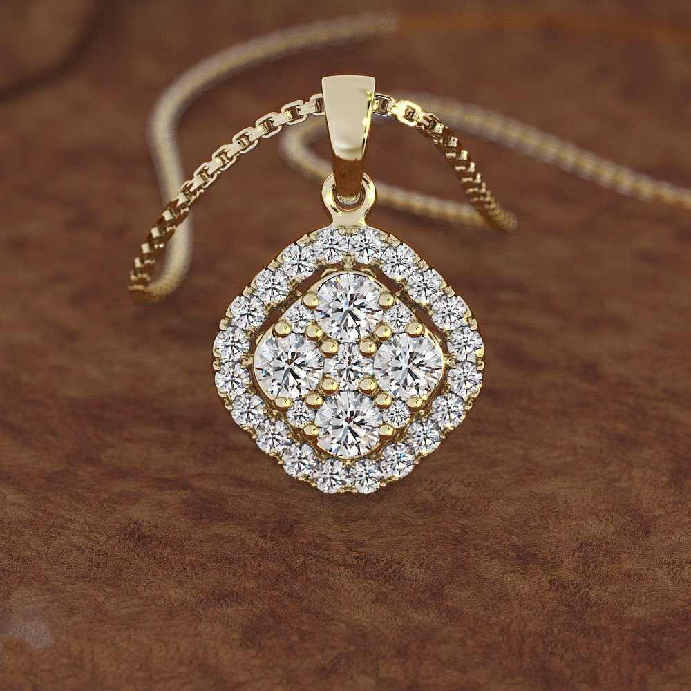 18K Rose Gold 2 carati di Diamanti Del Pendente di Piazza Bijoux 18K oro Calcedonio Bizuteria Collana Dei Monili Delle Donne pierscionki Della Pietra Preziosa