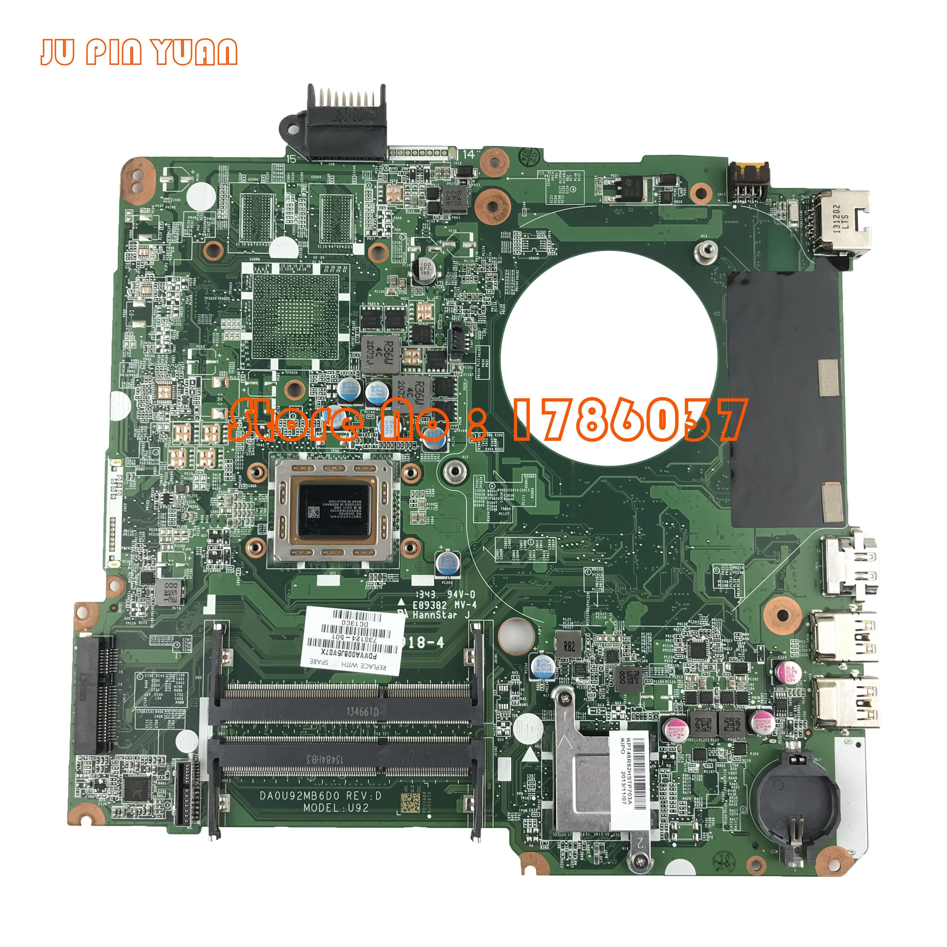 JU PIN YUAN 738124 001 738124 501 U92 mainboard For HP PAVILION 15 N Laptop motherboard