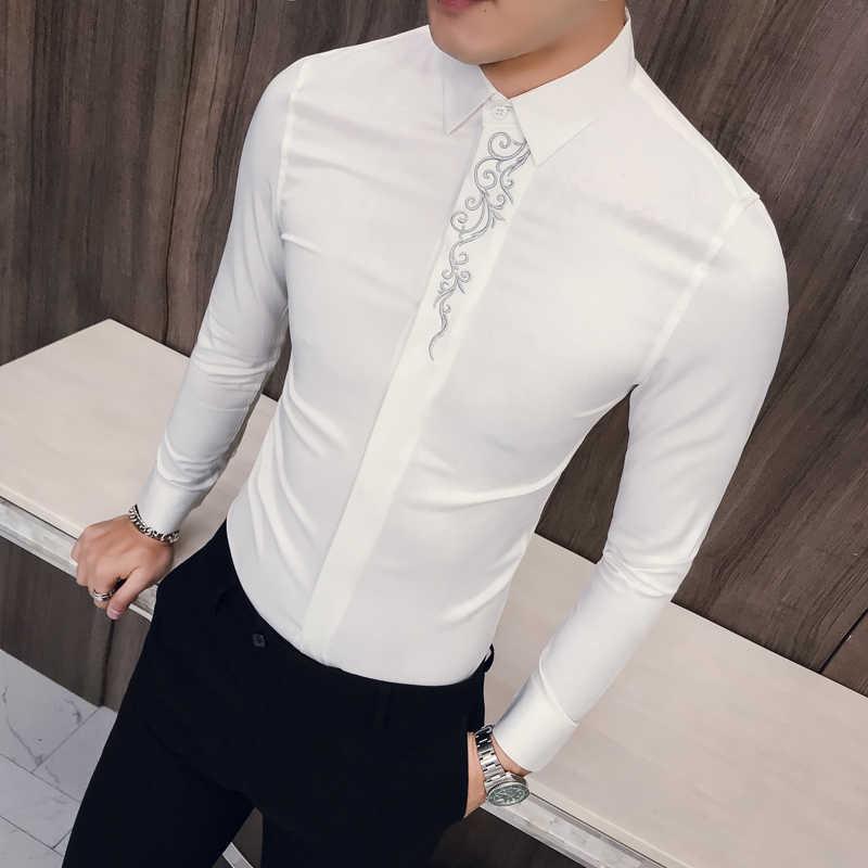 春刺繍スリムフィット長袖シャツ男性社会クラブウエディング Masculina 高級韓国シャツ男性 Kemeja Pria