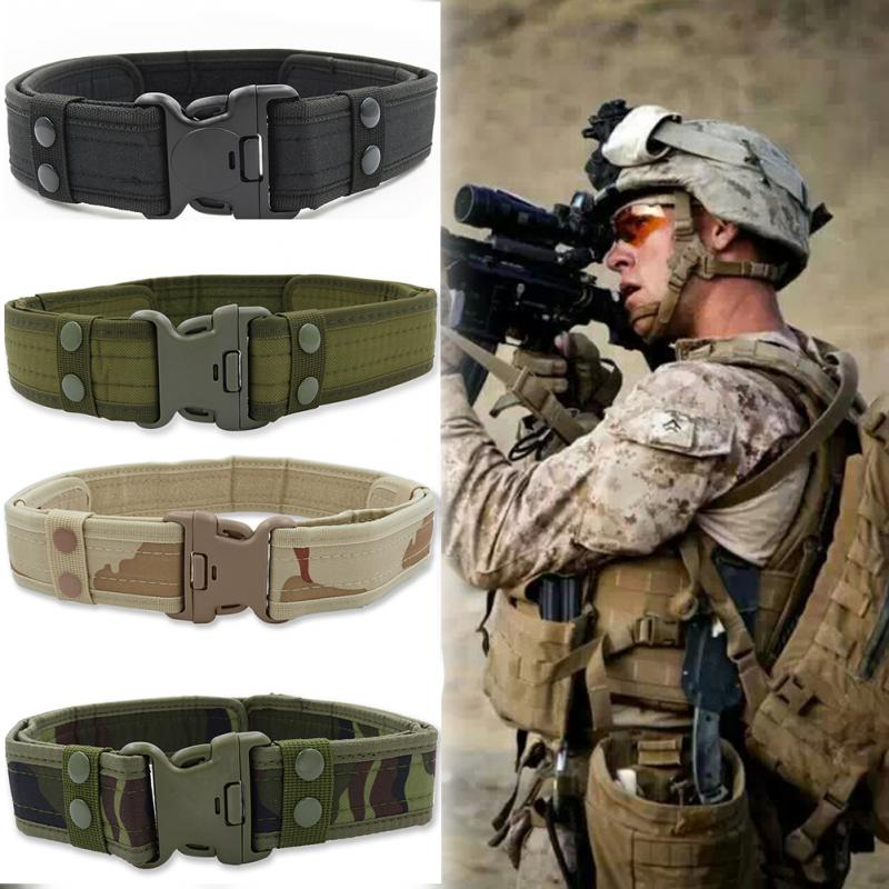 New Camouflage Tactical Military Canvas   Belt   Men Outdoor Army Waistband with Plastic Buckle Military Training Equipment~