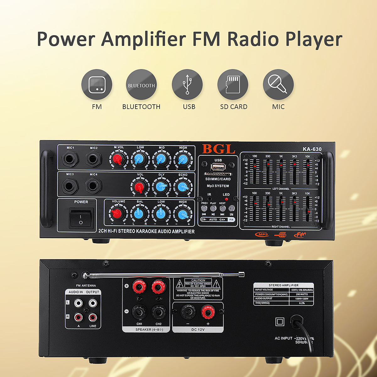 12V/ 220V Audio Car Amplifier Bluetooth Stereo Power Amplifier Karaoke Home Theater Amplifiers Speaker FM Radio Player 300w 300w 2 channel hifi audio stereo power amplifier bluetooth fm radio car home theater amplifiers music player