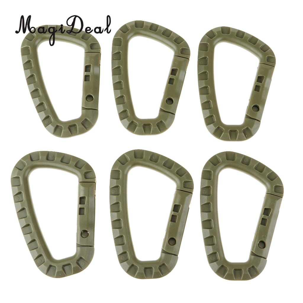 MagiDeal Tactical Carabiner Keychain Climbing Gear Clip Hard Polymer Lightweight Backpack Clips Key Snap Hook for Camping Hiking