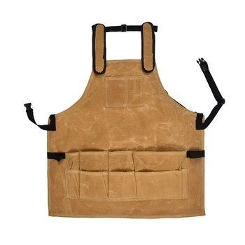 Delantal de lona encerado grueso adulto con bolsillos resistente al agua profesional delantal marrón Vintage peluquero