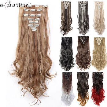 SNOILITE 24inch 8pcs/set Wavy 18 Clips in False Hair Styling Synthetic Hair Extensions Hairpiece Extension hair 1