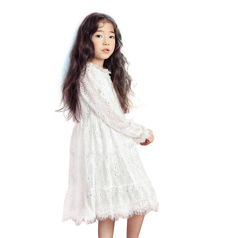 Белые кружевные платья с цветочным узором для девочек возрастом от 4 до 14 лет, платье для выпускного для девочек-подростков, осенне-зимнее платье с длинными рукавами детское платье