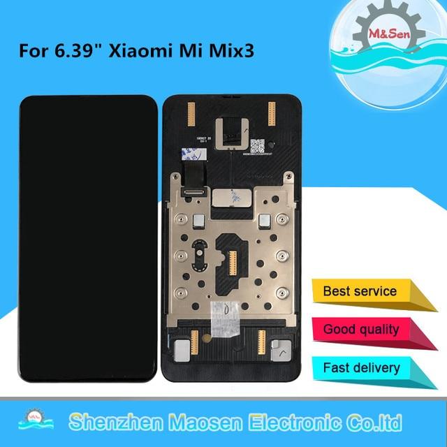 """Orijinal M & Sen 6.39 """"Xiaomi Mi Mix3 MiMix 3 MI MIX 3 süper AMOLED LCD ekran çerçeve ile çerçeve + dokunmatik Panel ekran Digitizer"""