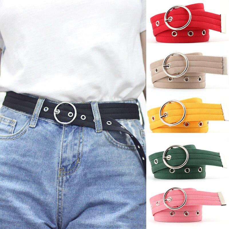 Fashion Women Pure Black Color Canvas Waistband Strap Casual 2019 Waistband 110cm Waist Belt Plastic Round Buckle Waist Belt