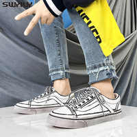 SWYIVY Men Canvas Shoes White Sneakers For Men New 2020 Spring Lace-up Fashion Solid Male Shoes Chunky Sneakers Comfortable 44