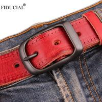 FIDUCIAL Ladie's Top Layer Cowhide Leather Belts Waistband 100% Pure Cow Genuine Needle Buckle Belt for Women Jeans 2019 FCO054