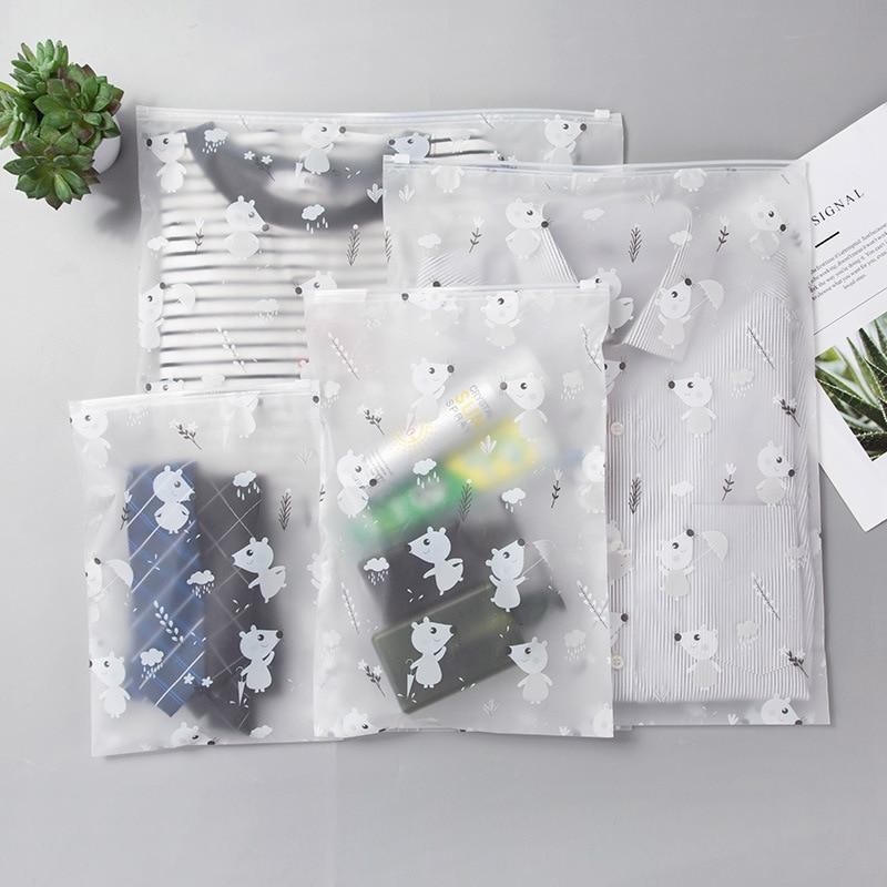 Travel Luggage Storage Bag Semi-transparent Bag Sealed Waterproof Transparent Eco Ziplock Bag Clothing Bra Shoe Storage 20 wire