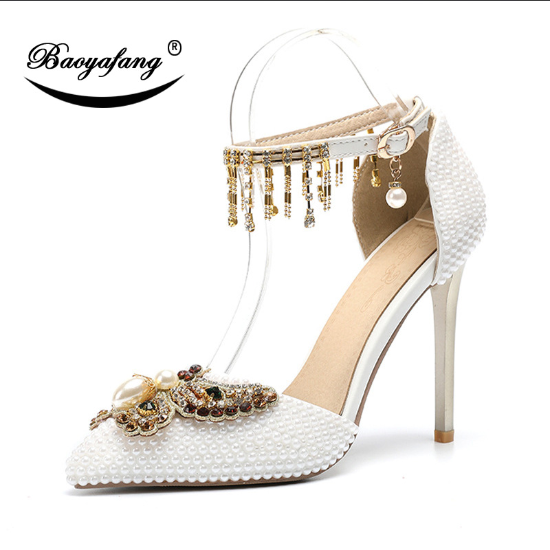 BaoYaFang 2019 NEW ARRIVE Ankle Strap Wedding shoes Woman High heeled pointed toe 11cm Bridal Sweet