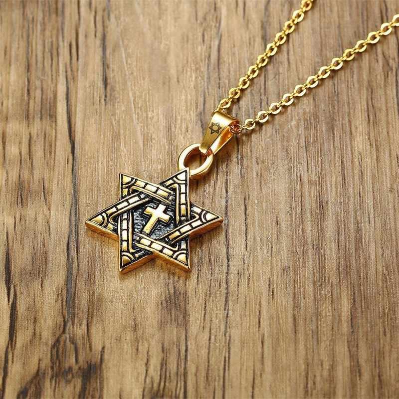 メンズスターデビッドネックレス & チェーンクロスミーガン · デビッドペンダントユダヤ人のステンレス鋼の宝石 24 インチ