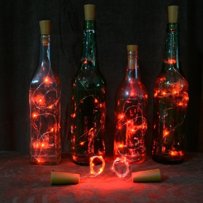 2m/20 Wine Bottle Lights 7 Colors Bottle Stopper LED String For Bar Christmas Wedding Party New Year Decoration Battery Powered