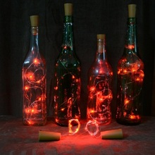 2m/20 Wine Bottle Lights 7 Colors Stopper LED String For Bar Christmas Wedding Party New Year Decoration Battery Powered