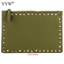 Mini Small PU Leather Clutch Bag Purse Rivet Green Black Wom