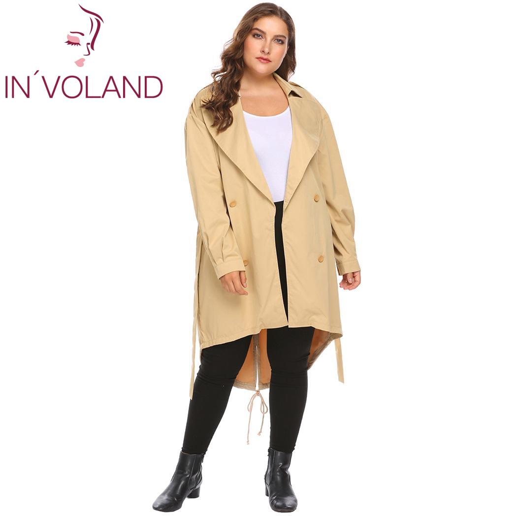 IN'VOLAND Oversize Women's   Trench   Plus Size Autumn Overcoat Fashion Long Sleeve Outwear Solid Slim Waist Women Coat Large Size