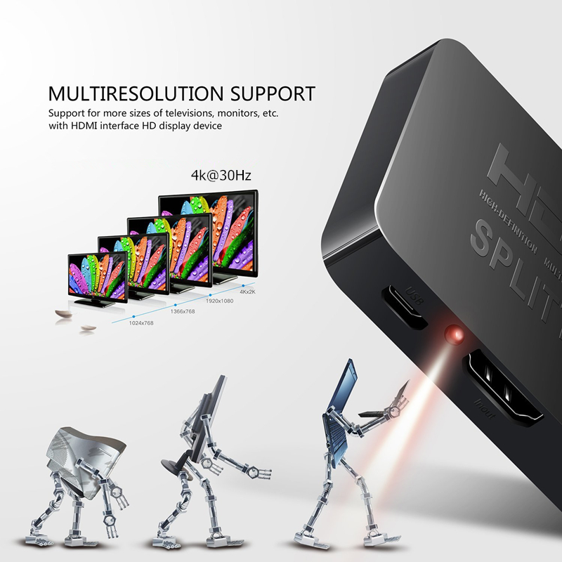 Trumsoon HDMI Splitter 1 in 2 Out 4K 1080P 3D Dual Display 1X2 HDMI Switcher for TV-box PS3 PC Projector TV