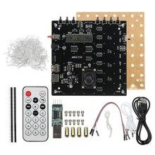 3D квадрат 8x8x8 светодиодный синий светильник квадратный MP3 музыкальный спектр печатной платы DIY Kit