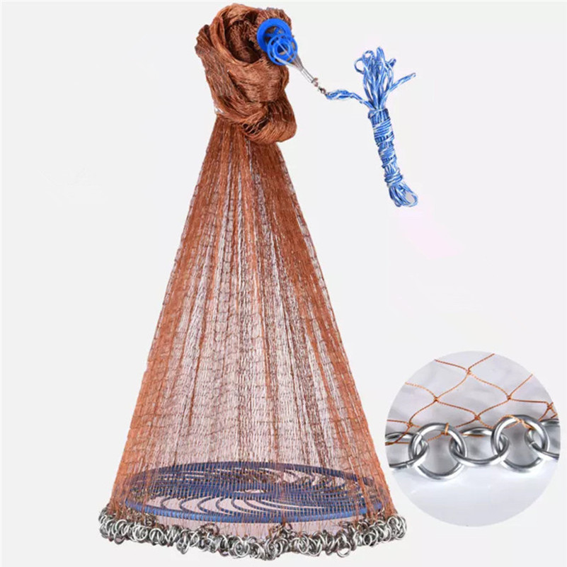 Upgraded Flying Disc Korean Hand Cast Fishing Net with Chain Sinkers PE Line Throw Fishing Net