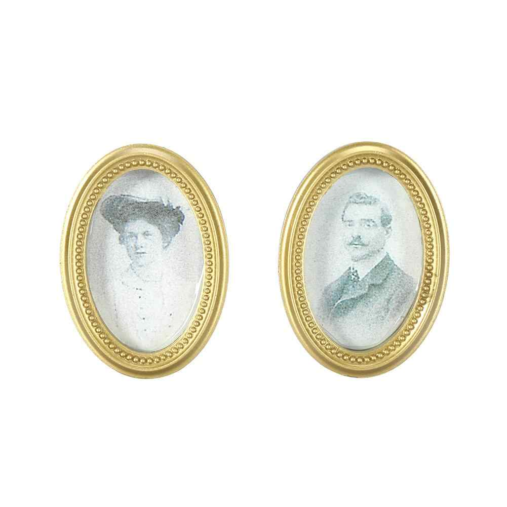 2Pcs/Set Doll House Miniature Oval Frame Picture Photo Dollhouse DIY Accessories