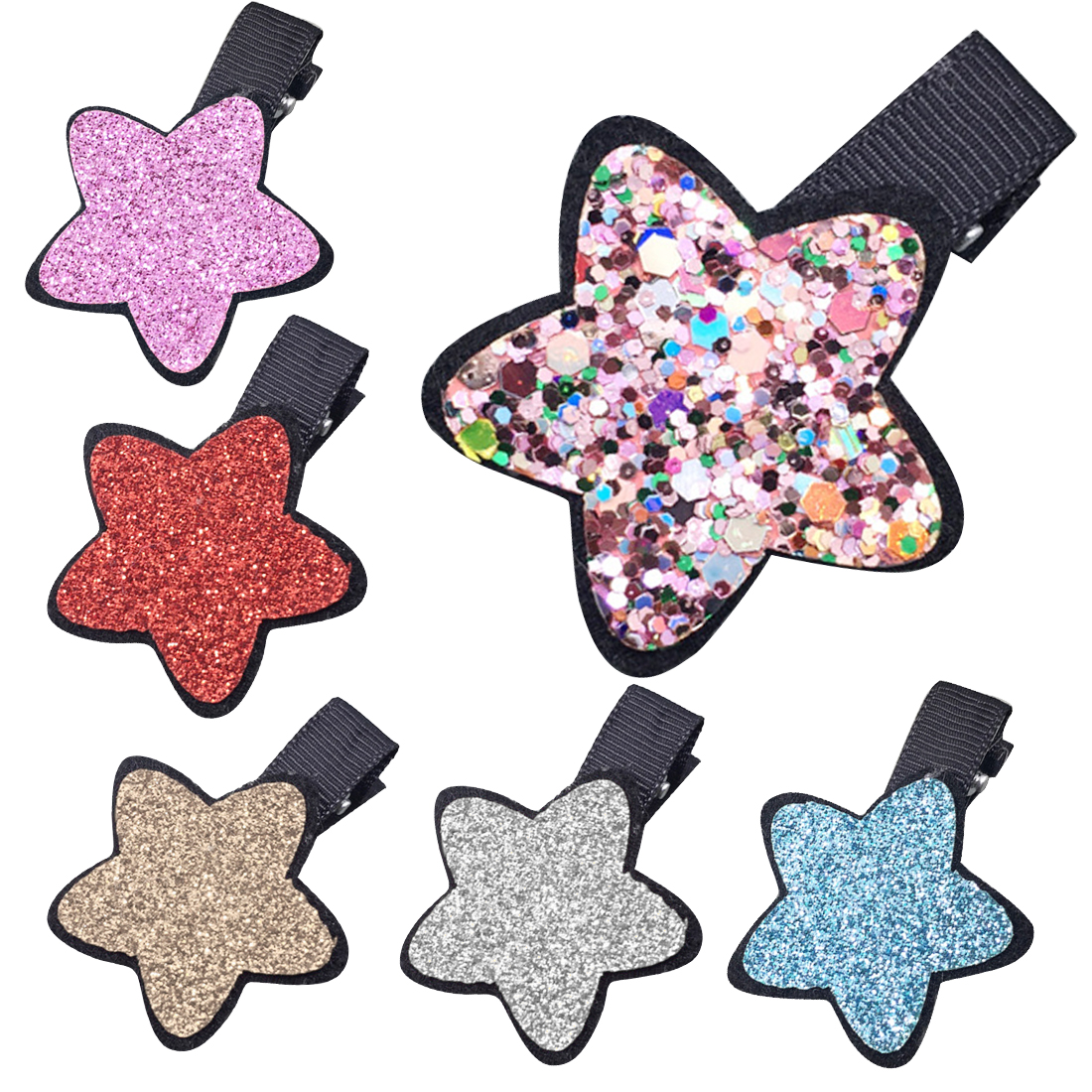 Cute Princess Shiny Star Hairpin Girls Kids Hair Clips Accessories For Children Barrette Hairgrip Headdress Hairclip Headwear