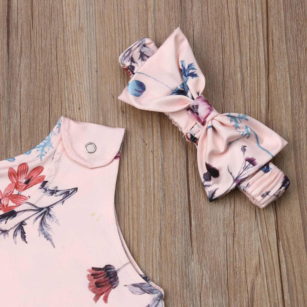 2019 nuevo 0-24M recién nacido niños bebés niñas niños mameluco de verano estampado de flores sin mangas Rosa mono ropa Playsuit