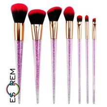 ESOREM Foundation Brushes Set Makeup 7pcs Bling Handle Twinkle Brush Powder Blush Eye Shadow Lip Cosmetic For Pinceaux Maquillag