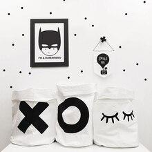 Cartoon Canvas Storage Bag Baby Clothes Kids Toys Organizer X O Letter Bunny Closed Eye Hanging Wall Pocket Children Room Decor