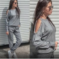 Women Sweater Suit Fashion Casual 2Pcs Solid Women Tracksuit Rhinestone Knitted Trousers Jumper Tops Costume Women Set