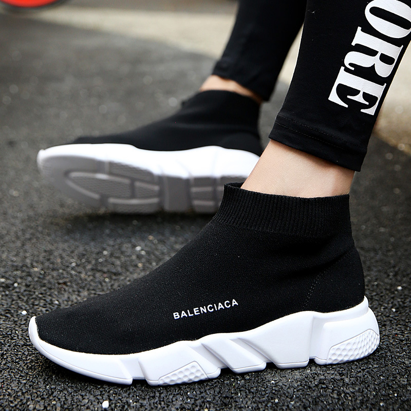 2019 Fashion Korean Knitted Design Black Socks Platform Sneakers Women Shoes  Summer Breathable Casual Shoes Woman c225f50437e9