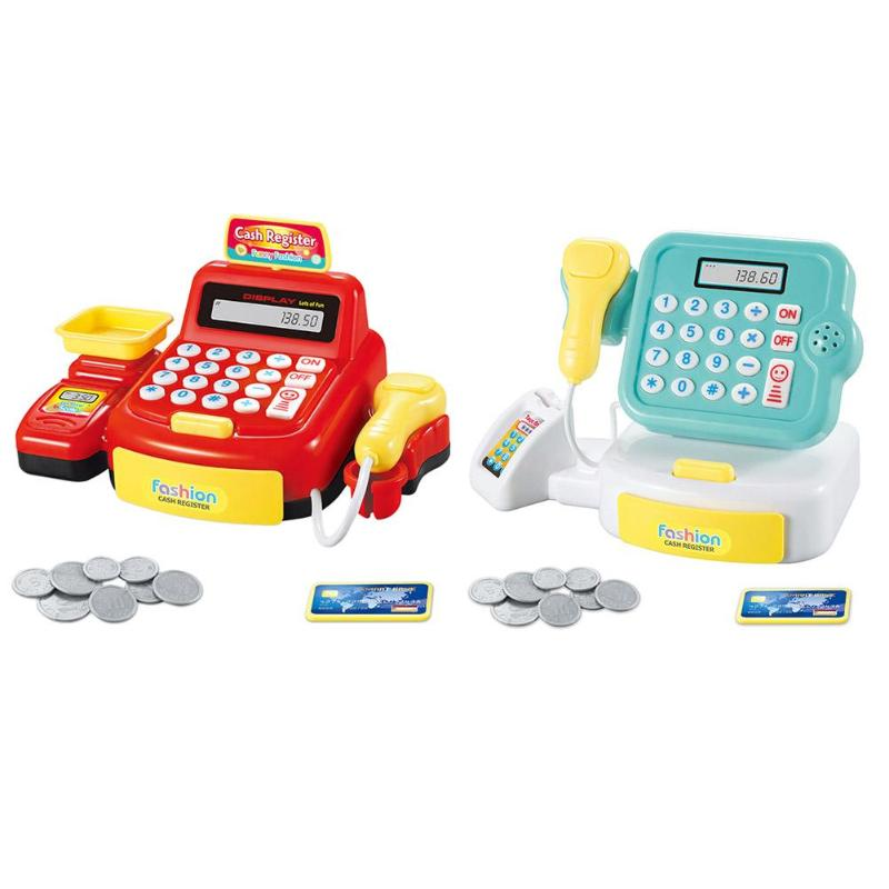 Simulated Supermarket Checkout Counter Role Cashier Cash Register Toy Kids Pretend Play Toys Electronic Toys Gifts for Kids
