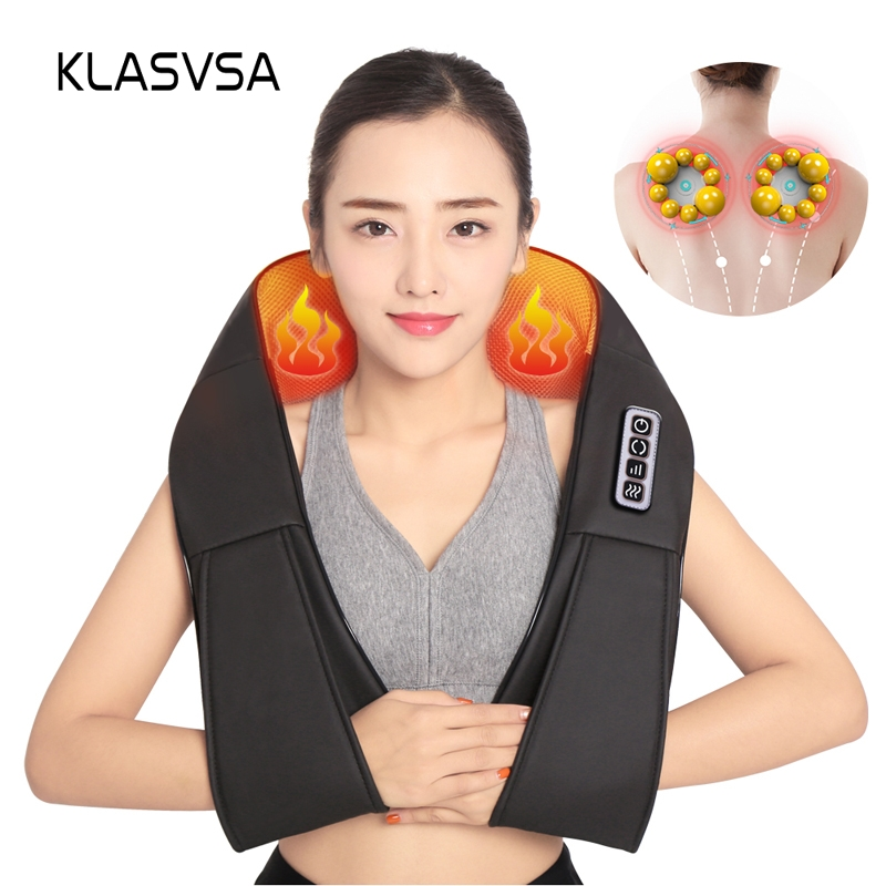 KLASVSA Electric Heating Neck Massager Shiatsu Kneading Cape Back Shoulder Pain Relief Home Acupuncture Therapy Relax