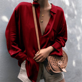 Trendy Women clothes Loose Long Sleeve solid casual Blouse turn-down collar Ladies Polyester Shirts one pieces girls plaid blouse 2019 spring autumn turn down collar teenager shirts cotton shirts casual clothes child kids long sleeve 4 13t