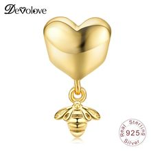 Devolove Shine Heart and Bee Charm 100% 925 Sterling Silver Original Beads Pendant DIY Jewelry Accessories Anniversary Gifts(China)