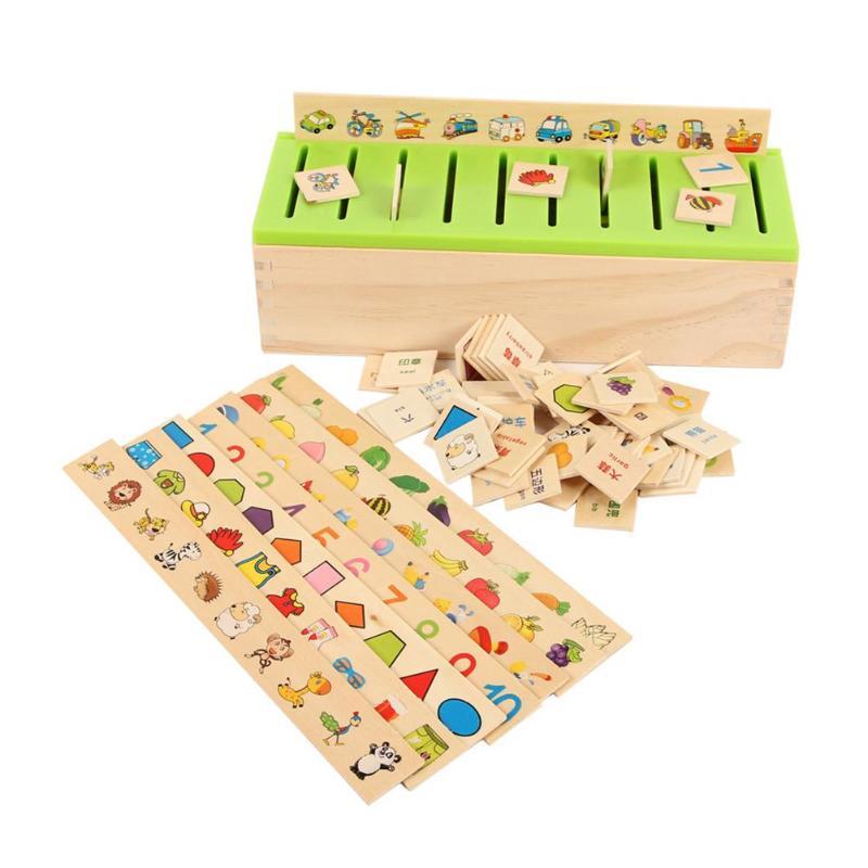 Conocimiento Matemático Montessori juguete de madera caja de correspondencia cognitiva niños clasificación temprano aprender juguetes educativos para niños 20 tipo DIY de Control remoto inalámbrico de carreras de modelo Kit de madera para niños de ciencia física de juguete ensamblado juguete educativo de coche