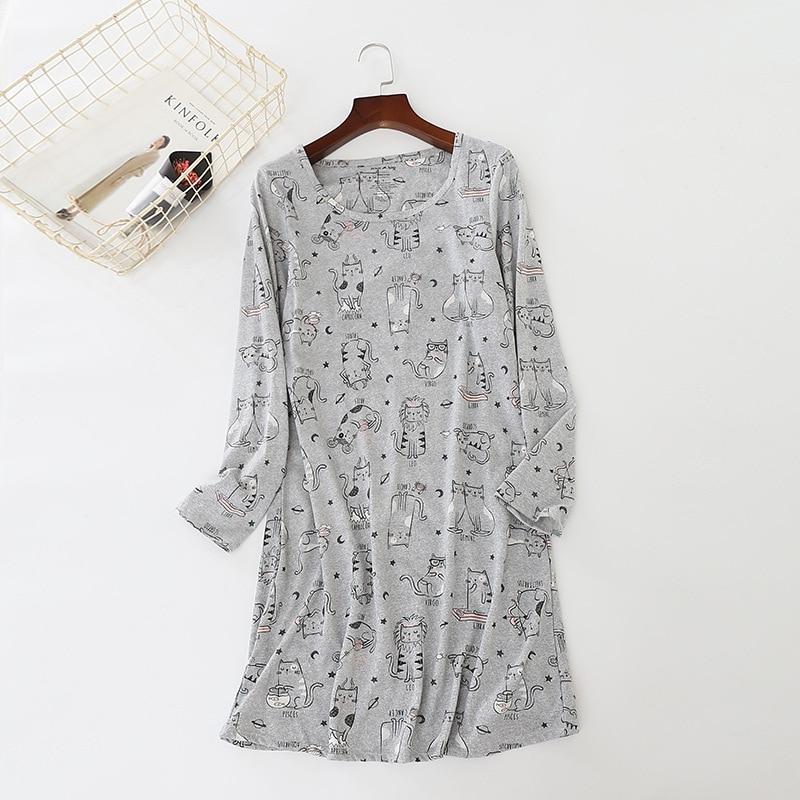 Spring Summer   Sleepshirts   For Women Casual Nightdress Cotton Sleep Dress   Nightgowns   Sleepwear Long Sleeve Nightshirts